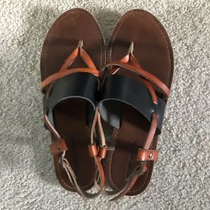 Faux Leather Brown & Black Sandals